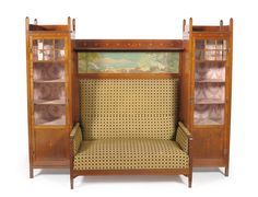 Art Nouveau / Arts And Crafts Inlaid Mahogany Display Cabinet / Settee Rare L@@k in Antiques, Antique Furniture, Sofas/ Chaises | eBay