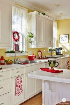 Reminds me of my mom\'s yellow kitchen. From Brabourne Farm http ...