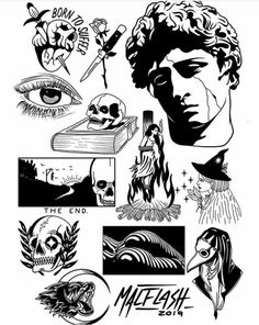 By @ malflash. - By @ malflash. Flash Art Tattoos, Dope Tattoos, Body Art Tattoos, Tattos, Kritzelei Tattoo, Tattoo Dotwork, Doodle Tattoo, Black Tattoo Art, Black Tattoos