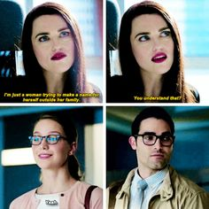 """""""I'm just a woman trying to make a name for herself outside her family"""" - Lena, Kara and Clark #Supergirl"""