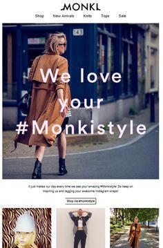 """Sub: """"Check out this awesome #Monkistyle!"""" Instagram è sempre un ottimo modo per coinvolgere gli utenti e dare visibilità ai prodotti."""