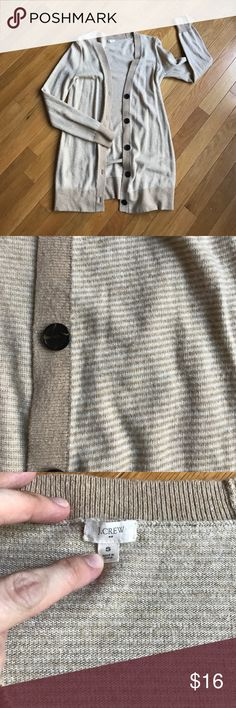 J Crew Cardigan Tan and white J Crew cardigan in great used condition. Open to all reasonable offers! J Crew Sweaters Cardigans