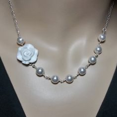 Bridal jewelry  White pearl necklace  White by QueenMeJewelryLLC, $49.99