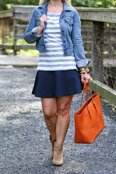 How to Wear a Skirt With Booties - Jean jacket and orange purse - Peaches in a Pod