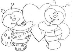 Two Bees with Heart Applique Patterns, Colouring Pages, Patches, Templates, Quilts, Crafts, Study Help, Animals, San Antonio