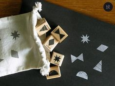 rubber stamp set: five geometric inspired christmas stamps by bastisRIKE