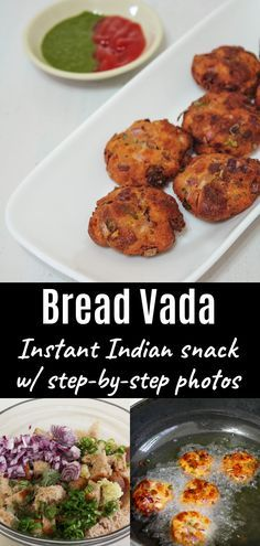 Bread Vada Recipe - This Indian street food, deep fried dumplings are made from bread slices, yogurt, rice flour, and onion. This is delicious and indulging Indian snack that goes perfectly with a cup of hot tea or coffee. Or you can serve with chutney or ketchup. During the rainy season or winter, I love to have this vada. #Snacks #streetfood #indianrecipe Recipes With Bread Slices Indian, Indian Food Recipes, Veg Recipes, Curry Recipes, Cooking Recipes, Indian Street Food, South Indian Food, Bread Snacks Recipe, Fried Dumplings