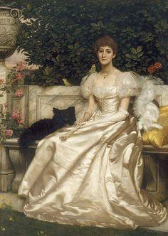 The Athenaeum - Violet Monckton With Her Budgerigars (Sir Edward John Poynter - )