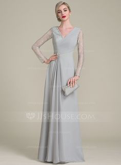 A-Line/Princess V-neck Floor-Length Ruffle Beading Sequins Zipper Up Sleeves Long Sleeves No Other Colors General Plus Chiffon Lace Mother of the Bride Dress
