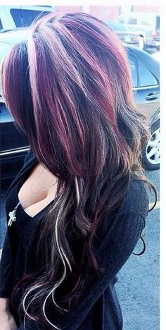 Hair Color Trends 2018 - Highlights love love love ♡ Discovred by : Jess❤Fabbulous 💋 2015 Hairstyles, Pretty Hairstyles, Purple Hair, Ombre Hair, Different Hair Colors, Hair Highlights, Chunky Highlights, Hair Heaven, Girly