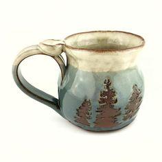 Pottery Coffee Mugs. Nature Mug. Stoneware Mug. Handmade Ceramic Mug. Tea Mug. Pine Tree Mug. Tea Mugs, Coffee Mugs, Unique Garden Decor, Wheel Thrown Pottery, Stoneware Mugs, Pottery Mugs, Pine Tree, Handmade Ceramic, Plant Decor