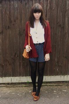 navy polka dot skirt, black tights, red cardigan, white shirt