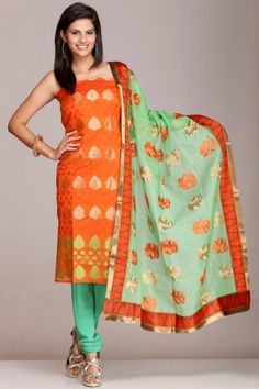 #Orange & #Green #chanderi #unstitched suit with gold #zari bootis on www.indiainmybag.com/bling-it-on-unstitched-suits.html
