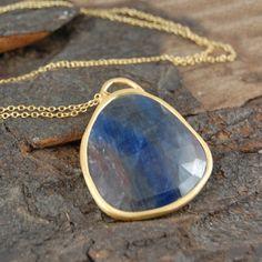 Azure Blue Precious Sapphire #Pendant Necklace - 18k Gold.  #Embersjewellery #Jewellery  #accessories #gemstone #sapphire #organic