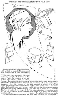ca. 1920's pattern and instructions for felt hat