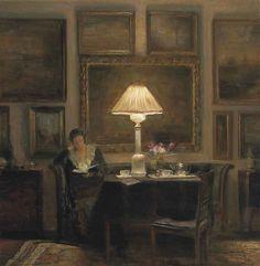 A lady reading by lamplight. Carl-Vilhelm Holsøe (Danish, 1863-1935). Oil on canvas.