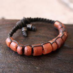 Rustic Ancient Carnelian Macrame Bracelet