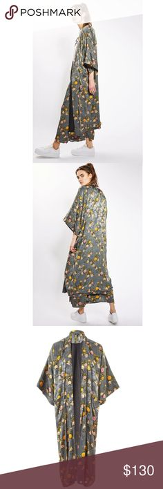 Topshop silky maxi kimono The perfect outerwear layer for spring, this longline kimono comes in an all-over floral print for a pretty feel. Throw over a jeans-and-tee combo to keep things casual. 100% Viscose. Machine wash. 693148  Retail: $130 Sizes: 4 ( size small listed for size comparison)   ❤Add items to a bundle and I'll send you a personalized offer!  ❤I have over 300 new with tag Free People & More items for sale!  ❤No trades. I no longer discuss pricing in comments. Please use offer…