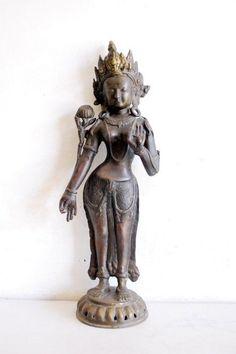 Vintage Old  Brass 20'' Big Collectible Hindu Goddess Statue Figure