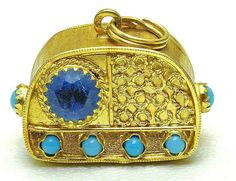 WOW RARE** Vintage 18k yellow Gold Blue & Turquoise color Stones OLD RADIO Charm 1950's ~ 9.8 grams ~ 1.22 inches in length ~ $839.15
