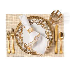Modern | Tie together dissimilar motifs with a monochromatic color scheme.  Here, the geometric lines of the glass and placemat are married with the frilly china pattern and napkin by the metallic, gold color.