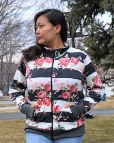 @5outof4patterns posted to Instagram: The Donna Sweatshirt Jacket is the perfect summer to fall transition piece that you need! It's a full zip closure so it's super easy to throw on when it gets colder! It has a hood or collar option and includes an FBA bodice option. #5outof4patterns #pdfsewingpatterns #5oo4 #pdf #isew #sewcialists #handmadewardrobe #sewing #sew #sewingproject #fabric #sewforkids #sewforboys #sewforgirls #handmadeclothing #isewmyownclothes #instasew #sewingpattern #makersgon Rain Jacket, Bomber Jacket, Fall Sewing, Pdf Sewing Patterns, Handmade Clothes, Autumn Summer, Super Easy, Bodice