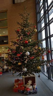 Christmas Tree in Blanchardstown Library Christmas Tree, Holiday Decor, Home Decor, Teal Christmas Tree, Decoration Home, Room Decor, Xmas Trees, Christmas Trees, Home Interior Design