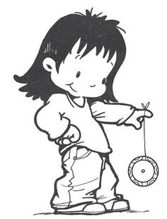 girl with yoyo National Holidays, Precious Moments, Smurfs, Diy And Crafts, Snoopy, Clip Art, Drawings, Creative, Anime