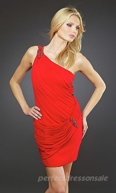 Short Sheath Style Red Chiffon One-Shoulder Neck Sequined Brooch Cocktail Party Gowns Red Homecoming Dresses, Bridesmaid Dresses Plus Size, Plus Size Dresses, Dresses 2013, Dresses For Sale, Formal Dresses, Red Chiffon, Red Carpet Dresses, Party Gowns