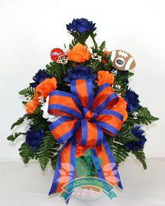 Florida Gators Fan Cemetery Vase Arrangement featuring Orange, White Roses by Crazyboutdeco on Etsy
