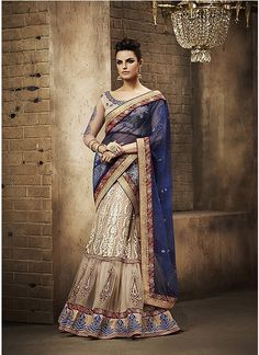 Lovely Beige and Blue Designer Lehenga Saree - shopneez.com
