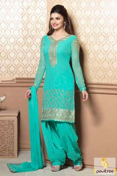 Turquoise party wear embroidery Salwar Suit is glorious with embroidery works, lace patti works, resham work, multi thread embroidery works. Punjabi Girls, Punjabi Dress, Designer Punjabi Suits, Indian Designer Wear, Ethnic Fashion, Indian Fashion, Women's Fashion, Indian Dresses, Indian Outfits