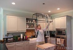 LLH DESIGNS: My Farmhouse Kitchen Paint  Cabinets: Fieldstone in 1/2 formula Advance Satin by BM Walls: Chesapeake Gray Porter Paints Eggshell Finish Ceiling: Whickham Gray Flat Finish by BM
