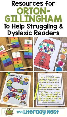 Resources for Orton-Gillingham to help struggling & dyslexic readers. Click here to shop The Literacy Nest. #ortongillingham #ortongillinghamlessons #ortongillinghamactivities