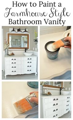 How to Paint a Farmhouse Style Bathroom Vanity—polycrylic on top of chalk paint  for high use pieces!