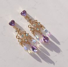Discovered by J O A N A. Find images and videos about pretty, purple and jewelry on We Heart It - the app to get lost in what you love. Kawaii Jewelry, Kawaii Accessories, Jewelry Accessories, Fashion Accessories, Jewelry Design, Fashion Jewelry, Ear Jewelry, Cute Jewelry, Jewelery