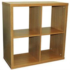 CUBE - 4 Cubby Square Display Shelves / Vinyl LP Record Storage - Oak - £69.99…