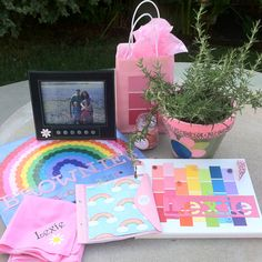 These were the items we gave our girl bridging from Daisies to Brownies.  Each girl was assigned a petal color.