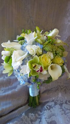 Soft blue and green wedding bouquet...by Wine Country Floral...www.winecountryfloral.com