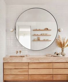 Home Interior Inspiration modern bathroom design with terracotta and cream rug and extra large round mirror Modern Bathroom Design, Bathroom Interior, Home Interior, Bathroom Trends, Bathroom Ideas, Bathroom Inspo, Bohemian Bathroom, Bath Design, Bathroom Designs