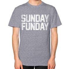 Sunday Funday Vintage Typography Unisex T-Shirt (on man)