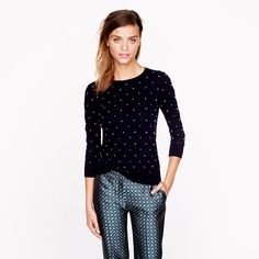 Mixing prints:  J.Crew - Merino Tippi sweater in French knot - Fall 2013