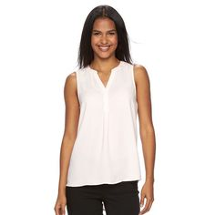 Women's Apt. 9® Sleeveless Popover Top, Size: Medium, Brt Pink