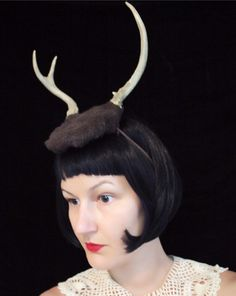 Deer Antler Headband  brown base with two point by doublespeak, $70.00