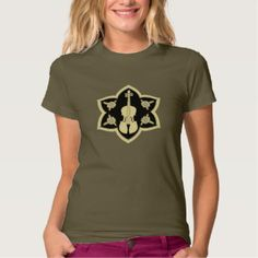 Violin Mandela Design on Military Green T Shirt