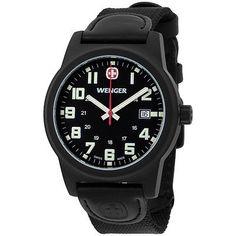 Wenger Black Dial Black Canvas/Leather Strap Men's Watch 72815
