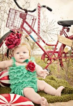 I'm stressed about what color romper do I get Stella? This color, offwhite, do I go to pink, what's going to look good on my pale, blue eyes, light red hair baby girl? Decisions, decisions! But Stella will NOT wear a headband that freaking big...that's a bit much on that poor baby girl.