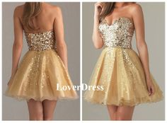 Gold Prom Dress, Sparkle Prom Dresses, Sparkly Prom Dresses, Corset Prom Dress, Short Mini Strapless Sweetheart Prom Dress, Sequins Dress