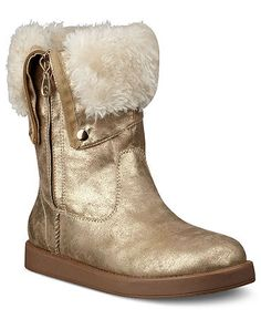 G by GUESS Women's Amaze Faux-Fur Boots at Macy's (have these - so cute! Gold Boots, Black Boots, Cold Weather Boots, Winter Boots, Black Friday Specials, Monday Specials, Faux Fur Boots, Shoe Boots, Women's Shoes