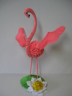 3d Origami Swan, Origami Paper Art, Origami Bird, Oragami, Hobbies And Crafts, Diy And Crafts, Paper Crafts, 3d Origami Tutorial, Flamingo Photo